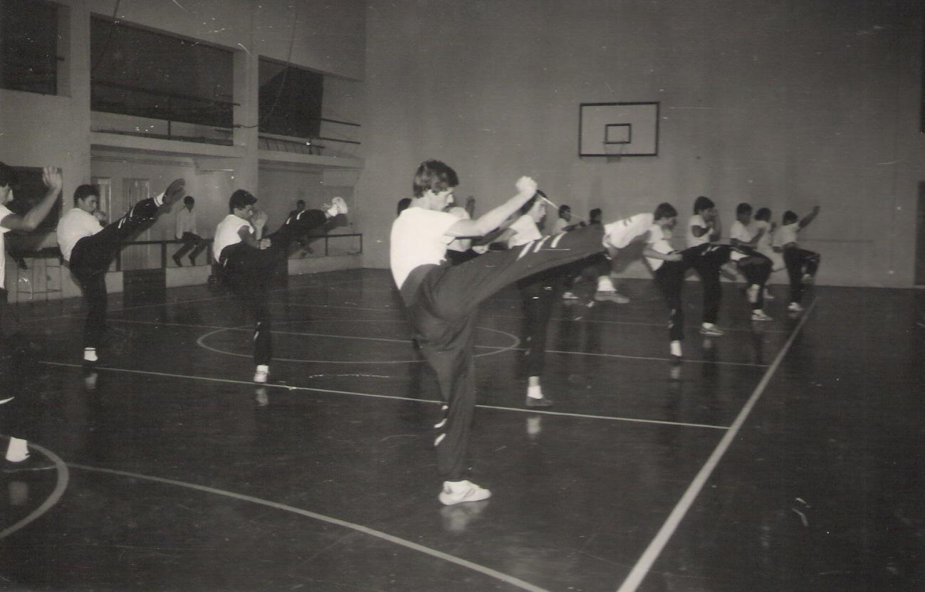 Aula de Choy Lee Fut no Colégio do Minho ano de 1989.